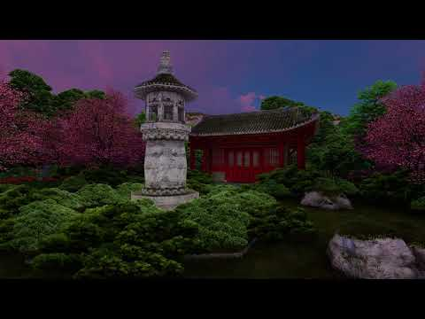 ( CGI 4k Stock Footage ) Japansese asian buddhist architecture temple zen garden 12