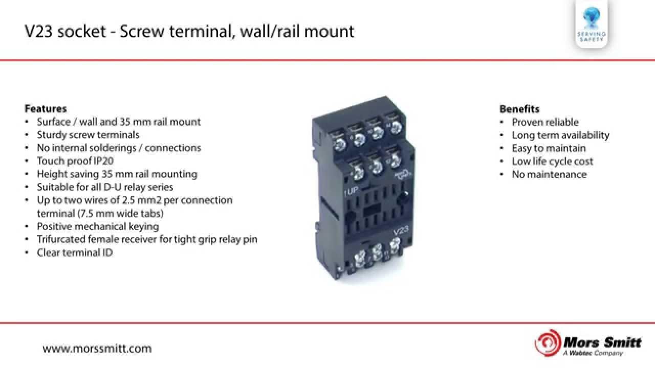 V23 Socket Screw Terminal Wall Rail Mount Youtube Relay