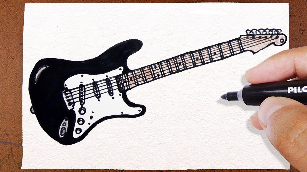 como desenhar guitarra rock instrumento musical how to draw youtube