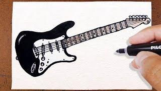 Como Desenhar Guitarra Rock , Instrumento Musical, How to Draw