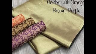 Exclusive Banarasi soft Golden zari satin saree with Price Rs.1225/- contact Details