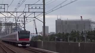 JR京葉線E233系507編成各駅停車海浜幕張行き市川塩浜駅到着