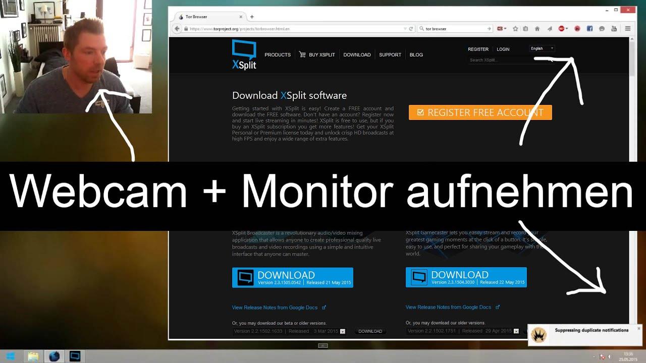 Tutorial Bildschirm Webcam Aufnehmen Gleichzeitige Aufnahme Des Desktop Und Der Webcam Youtube