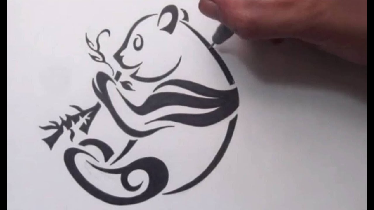 How To Draw A Panda  Tribal Tattoo Design Style