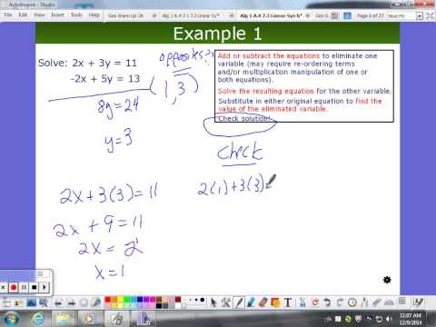 Linear Systems:  Elimination Method (Simple Case)