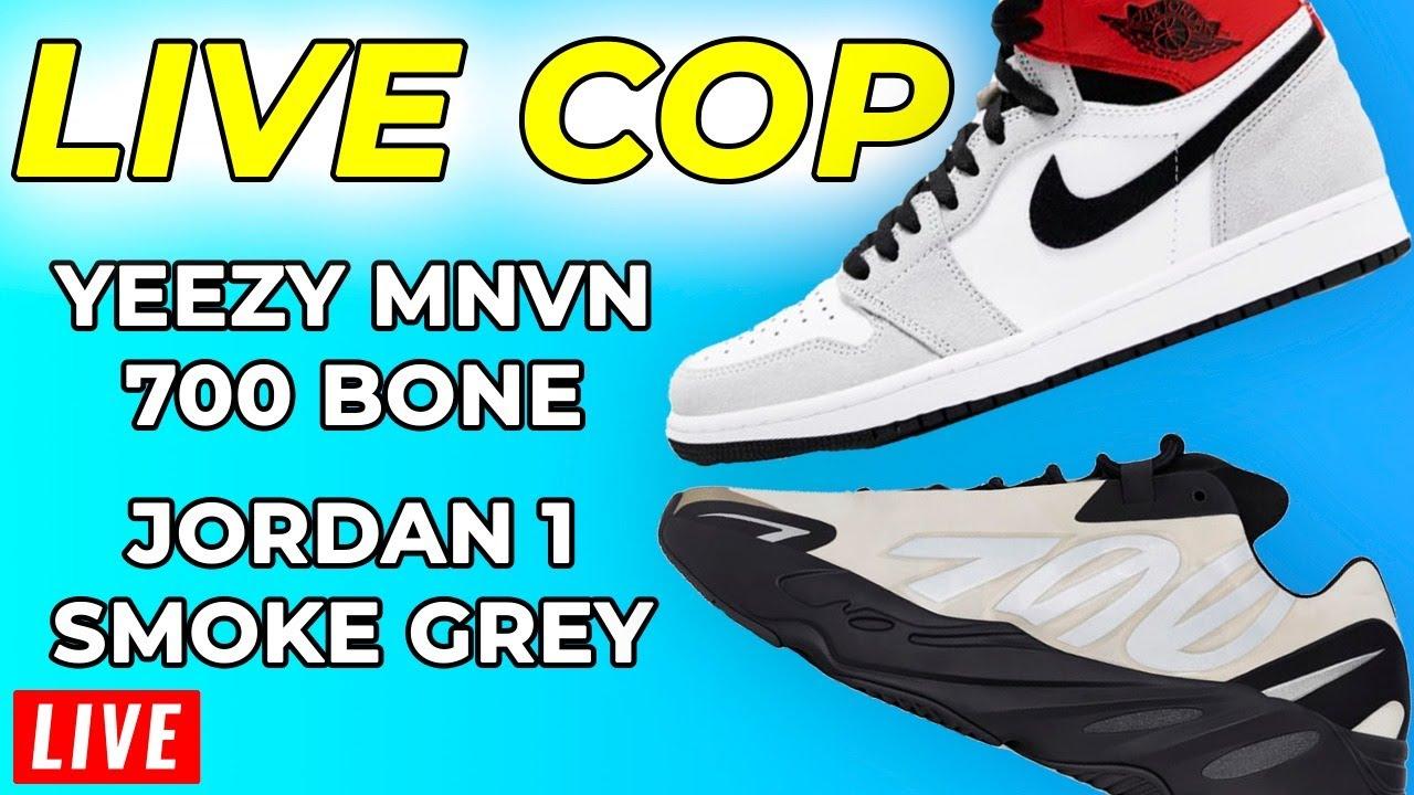 Live Cop Yeezy MNVN 700 Bone & Jordan 1 Smoke Grey // How to Cop Yeezy Supply Adidas Nike SNKRS App