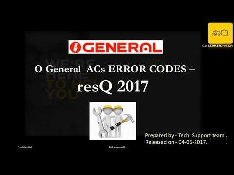 O general ac all error codes
