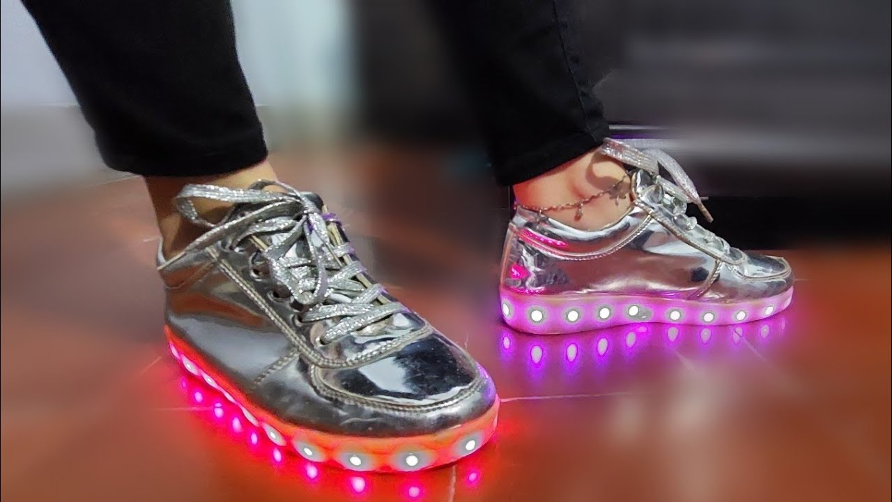 silver led shoes