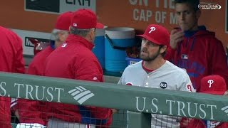 PHI@SF: Hamels has some words with Bowa in the dugout