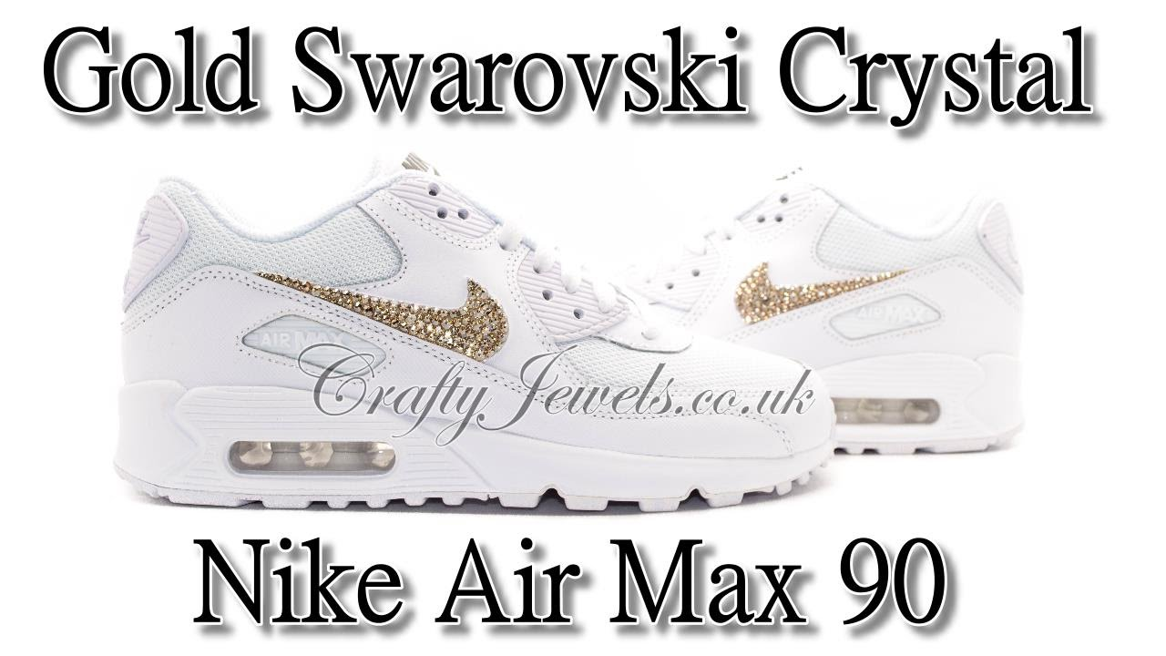 b9811fd92c41 Nike Air Max 90 in White With Gold Swarovski Crystals - YouTube