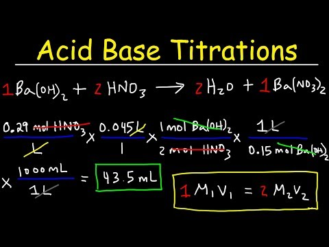 Acid Base Titration Problems, Basic Introduction, Calculations, Examples, Solution Stoichiometry