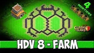 clash of clans village hdv 8 farming efficace et trs design avec 4 mortiers scarabe