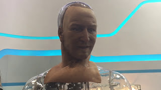 Han, a lifelike humanoid robot from Hanson Robotics at the Global Sources Mobile Electronics show.