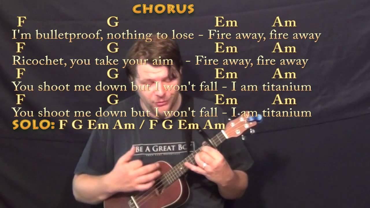 Titanium David Guetta Ukulele Cover Lesson with Chords/Lyrics   Capo 15rd