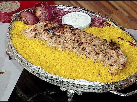 طريقه عمل سيخ الدجاج بالطحينه والثوميه والتبوله وارز المطاعم الاصفر من ساره عبد السلام