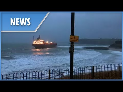 Giant Russian Cargo Ship Runs Aground Off Cornwall Coast