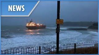 Giant Russian cargo ship runs aground off Cornwall coast