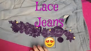 How to repurpose jeans with ith machine embroidery LACE designs!!