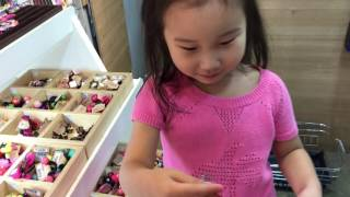 shopping for hair accessories in myeong dong