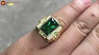 Nhẫn nam vàng 18k chủ đá Emerald Cut 9x14