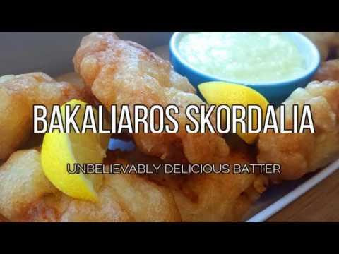 BATTERED SALTED COD WITH GARLIC SAUCE - BAKALIAROS SKORDALIA-
