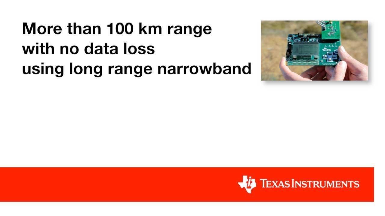 More than 100 km range with no data loss using long range narrowband