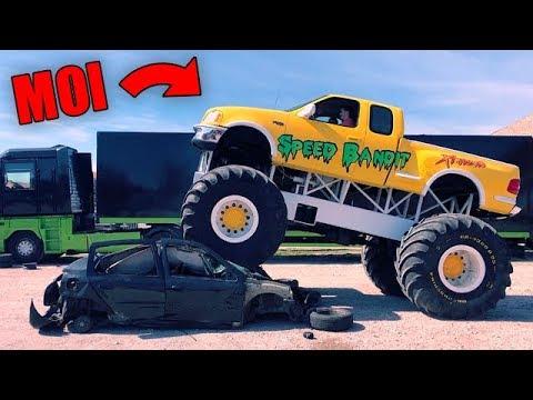 j 39 crase une voiture en monster truck youtube. Black Bedroom Furniture Sets. Home Design Ideas