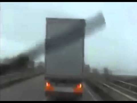Truck Almost Flipped by Storm Force Winds