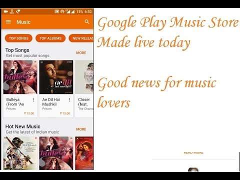 Google play music store India made live today  in hindi,15 rs per songs , on the go music