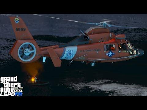 GTA 5 LSPDFR USCG Coastal Callouts   Night Time Helicopter Rescue   United States Coast Guard Mod