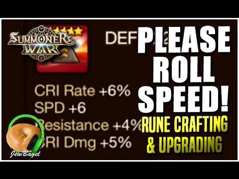 SUMMONERS WAR : Rune Crafting & Upgrading Swift Runes - Please Roll Speed!
