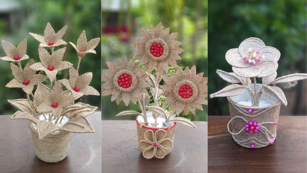 DIY 3 Jute Flower And Flower Vase For Decoration Ideas || Home Decor Jute Burlap Craft Ideas