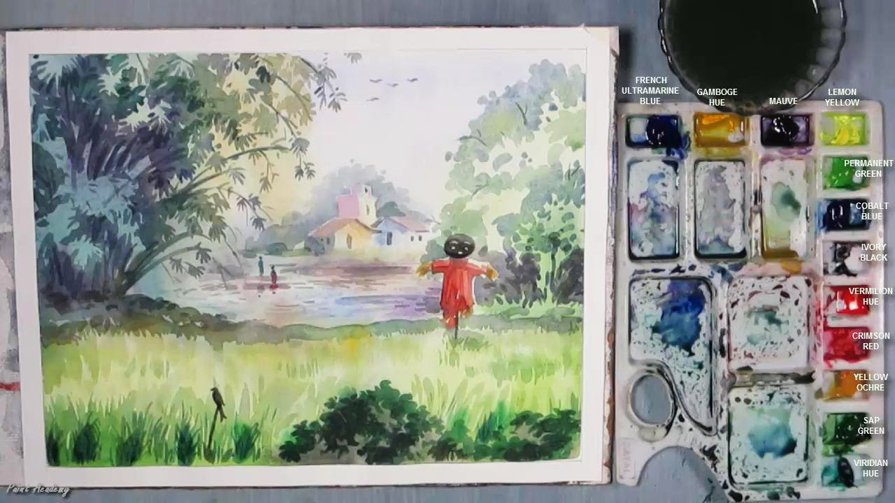 How To Paint A Village Scenery In Watercolor Youtube