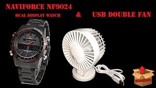 NAVIFORCE NF9024 DUAL DISPLAY WATCH & USB DOUBLE FAN UNBOXING [GREEK]