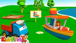Kid's 3d Construction Cartoons For Children 9: Leo's Sea Boat! (грузовичок Лева/트럭 레프, 자동차에 대한 만화)