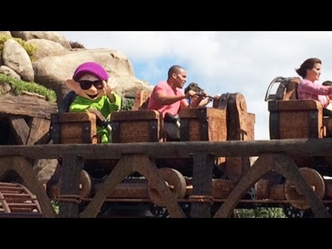 Seven Dwarfs Mine Train Running with First Riders (Extras) and Dopey, Magic Kingdom, Disney