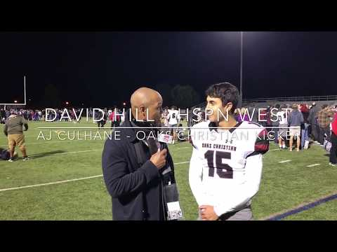 HSPN SPORTS WEST DAVID HILL; Post Game Interview With Ajay Culhane Kicker Oaks Christian
