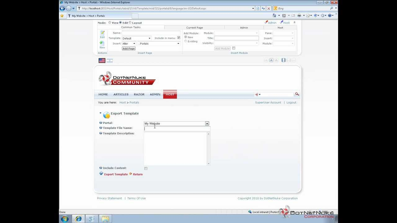 Exporting a portal template in DotNetNuke to another instance - YouTube
