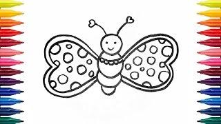 Как нарисовать милую бабочку фломастерами | Видео-урок для детей 💜 How to draw butterfly