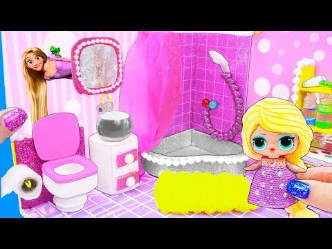 МИНИ Ванная Семейки Рапунцель Куклы ЛОЛ Сюрприз! Мультик LOL Surprise Toy DIY Miniature Dollhouse
