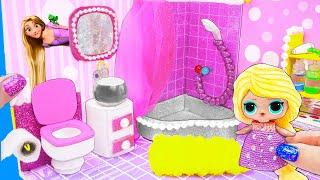 видео: МИНИ Ванная Семейки Рапунцель Куклы ЛОЛ Сюрприз! Мультик LOL Surprise toy DIY Miniature Dollhouse