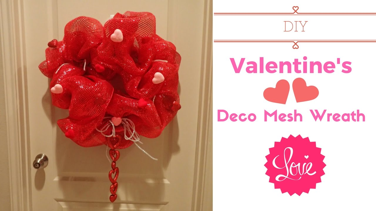diy valentines deco mesh wreath youtube. Black Bedroom Furniture Sets. Home Design Ideas