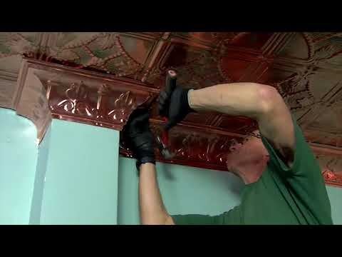 how-to-install-and-cut-real-copper-ceiling-tiles-and-cornice