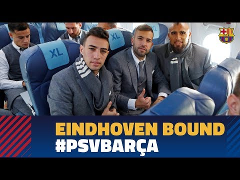 Barça lands in Eindhoven ahead of the Champions League match against PSV