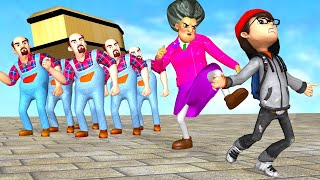 Scary Teacher 3D Miss T and Neighbor Coffin Dance Compilation with Nick Troll Power Speaker