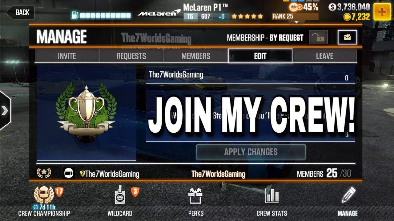 DO YOU WANT TO JOIN MY CREW? | CSR Racing 2