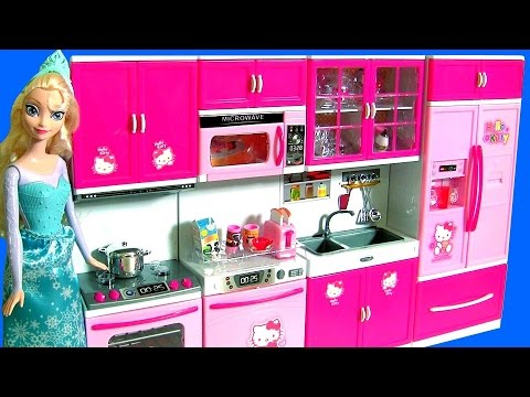 Hello Kitty Deluxe Kitchen Toy Cooking With Elsa Disney Frozen Play