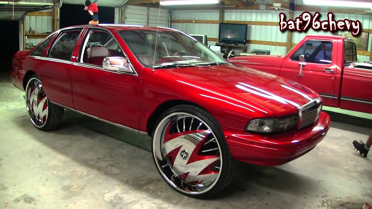 """Candy Red 93 Chevy Caprice on 30"""" DUB Skirts Ragged ..."""