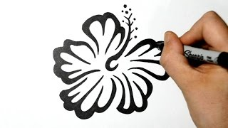 How to Draw an Hawaiian Flower - Tribal Tattoo Design Style