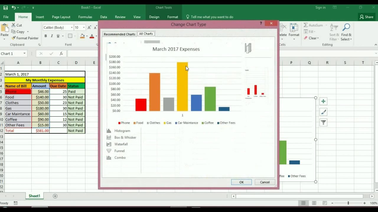 how to easily create expense sheet on excel 2010 2017 new youtube